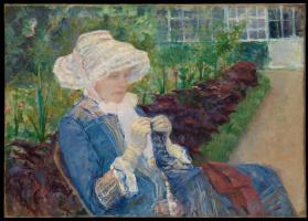 Мэри Кассат. Лидия вяжет крючком в саду в Марли