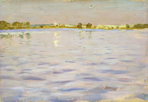 """Isaac Levitan. The last rays. The lake. A sketch for the painting """"Lake"""""""