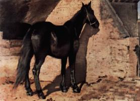 Giovanni Fattori. Black horse in the sun