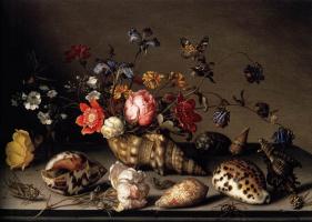 Балтазар ван дер Аст. Натюрморт с цветами в раковине и насекомыми