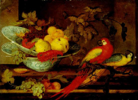 Baltazar van der Ast. Still life with fruit and crayfish in the two porcelain bowls and two parrots on a branch