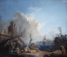 Пьер-Жак Волер Франция. Marine landscape with fishermen on a rocky shore.