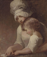 George Romney. A woman with a child. Portrait of Mrs. Cumberland and her son Charles