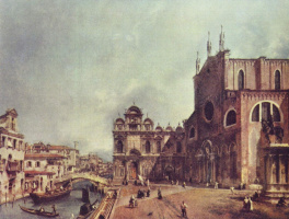 Giovanni Antonio Canal (Canaletto). The square before the Church of saints John and Paul in Venice
