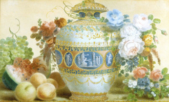 Pierre-Joseph Redoute. Still life with Chinese vase, flowers and fruits