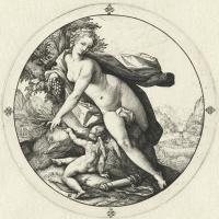 Хендрик Гольциус. Венера и Амур. 1588-1590  резцовая гравюра