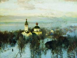Андрей Николаевич Шильдер. Пейзаж с белой церквью