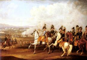 Альбрехт Адам. Австрийские штабные офицеры, наблюдая за ходом битвы