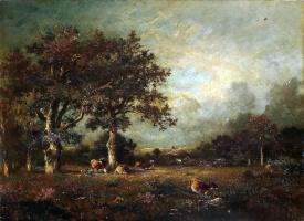 Жюль Дюпре. Пейзаж с коровами