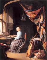 Герард Доу. Женщина играет на клавесине