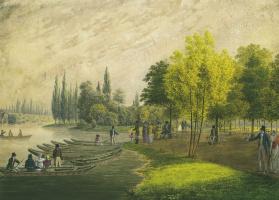 Андрей Ефимович Мартынов. Гуляние в дворцовом парке близ Санкт-Петербурга