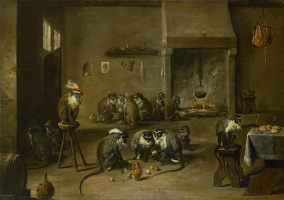 David Teniers the Younger. Monkeys in the kitchen