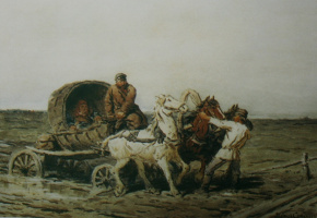 Петр Петрович Соколов. Увязли. 1874