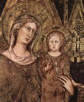 Симоне Мартини. Маэста, Мадонна на троне как патронесса города, окруженная святыми, фреска в Палаццо Пубблико в Сиене, деталь
