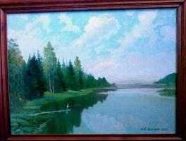 Nikolay Dmitrievich Pushkarev. Morning on the pond