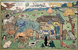 Josef Lada. Animals at the manger