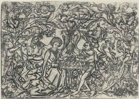 Израэль ван Мекенем Старший. Орнамент с играющей в шахматы парой