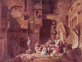 Karl Spitzweg. Washerwomen at the well