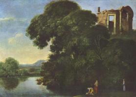 Адам Эльсхаймер. Пейзаж с храмом Весты в Тиволи