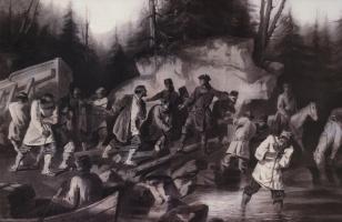 Vasily Ivanovich Surikov. Peter I drags ships from the Onega Bay in lake Onega in 1702