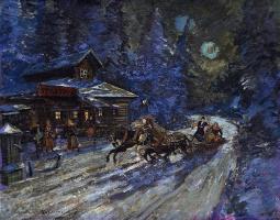 Константин Алексеевич Коровин. Тройка в лунном свете