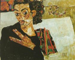 Эгон Шиле. Автопортрет с черной вазой и расставленными пальцами
