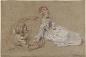 Антуан Ватто. Сидящая женщина и лежащий мужчина