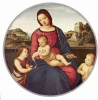 Рафаэль Санти. Мадонна Террануова, сцена: Мария с младенцем Христом и двое святых, тондо