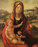 Альбрехт Дюрер. Мария с младенцем перед пейзажем