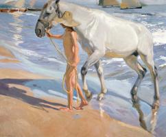Хоакин Соролья (Соройя). Купание лошади