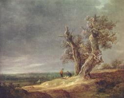 Ян ван Гойен. Пейзаж с двумя дубами