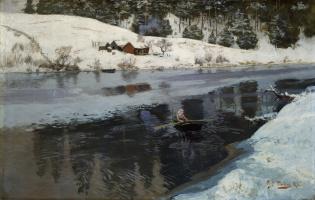 Frits Thaulow. River Simoa winter