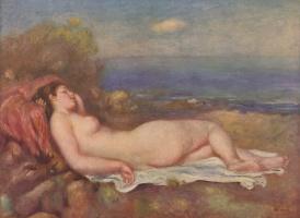Pierre Auguste Renoir. Sleeping by the sea