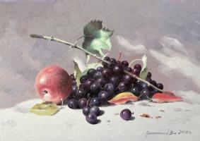 Vasily Ivanovich Gribennikov. Still life with apple and grapes