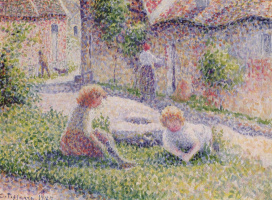 Camille Pissarro. The children in the courtyard of the estate