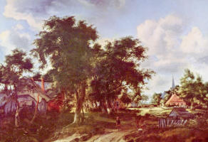 Maydert Hobbema. The entrance to the village