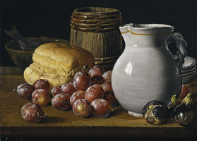 Still life with plums, figs and jug