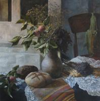 Polina Kuznetsova. Still life with grass and bread