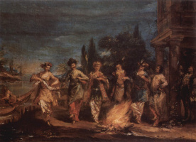 Giovanni Antonio Guardi. Three Turkish couples dancing in front of the fire