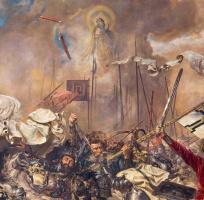 Ян Матейко. Битва при Грюнвальде. Фрагмент. Явление Святого Станислава над полем битвы