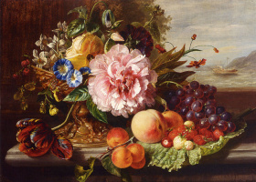 Хелен Августа Гамбургер. Натюрморт с цветами и фруктами