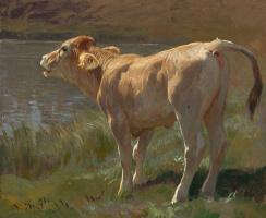 Рудольф Коллер. Ревущий теленок на озере