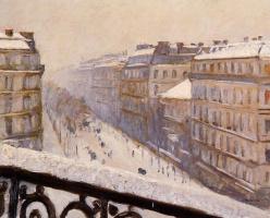 Гюстав Кайботт. Бульвар Осман в снегу. Париж