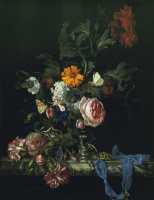 Vase with flowers and pocket watch