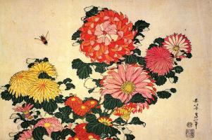 Katsushika Hokusai. Chrysanthemum and Bee