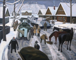 Vladimir Fedorovich Yakunin. The arrival of the Siberians in Moscow, 1941