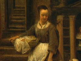Питер де Хох. Женщина с ребенком во дворе. Фрагмент