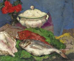 Алексей Владимирович Исупов. Натюрморт с супницей и рыбой. 1925-1930