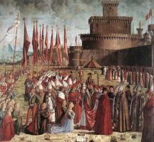 Витторе Карпаччо. Прибытие паломников в Кельн и встреча с Папой Римским. Сцена из жизни Святой Урсулы