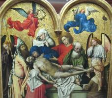 Робер Кампен. Триптих: погребение Христа. Фрагмент: возложение в гробницу